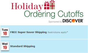 Holiday Ordering Cut-off  1